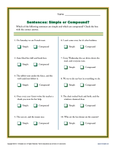 Simple Compound And Complex Sentence Quiz - ProProfs Quiz