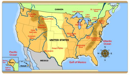 About US Physical Map ProProfs Quiz - Physical map of usa