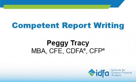 Idfa Webinar: Competent Report Writing