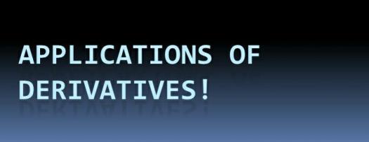 Applications Of Derivatives Assessment Test