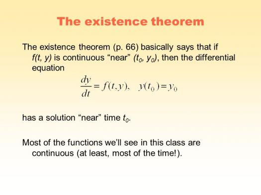 Existence Theorem Assessment Test