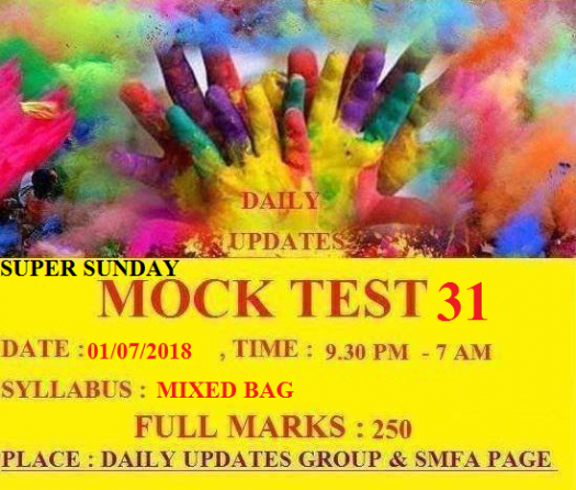 Daily Updates Mock Test 31