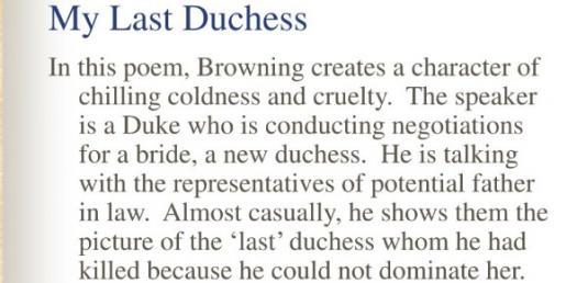 My Last Duchess Quiz