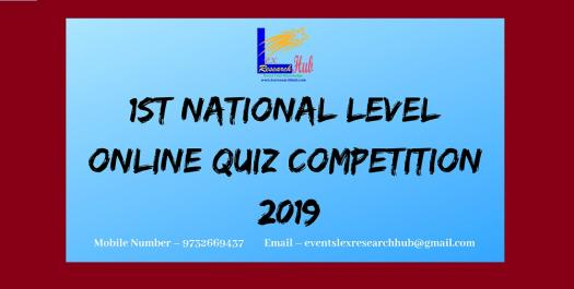1st National Level Online Quiz Competition 2019