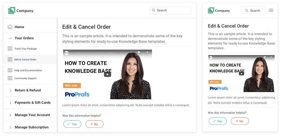 eCommerce knowledge base templates