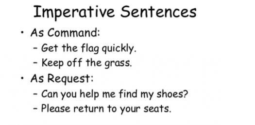 The Imperative Sentence! Grammar Trivia Quiz