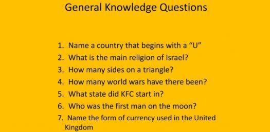 General Knowledge Trivia! Quiz Questions!