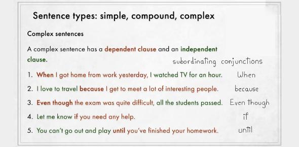 Simple, Compound And Complex Sentences Quiz