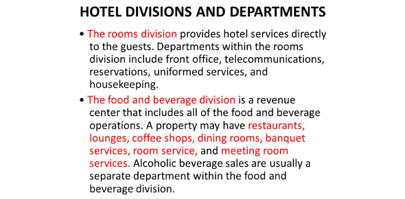 Section 1.5quiz: Hotel Divisions And Departments