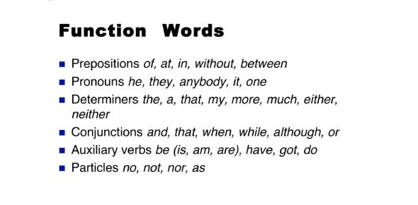 Function Words Quiz: Grammar!