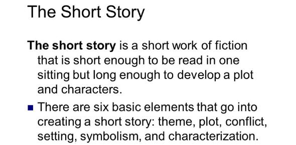 Short Story Unit Review Test: Quiz