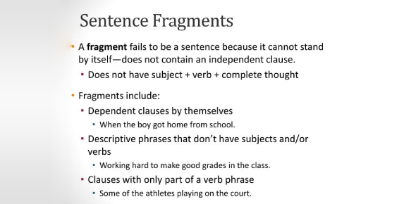Sentence Fragment Quiz: Grammar Trivia