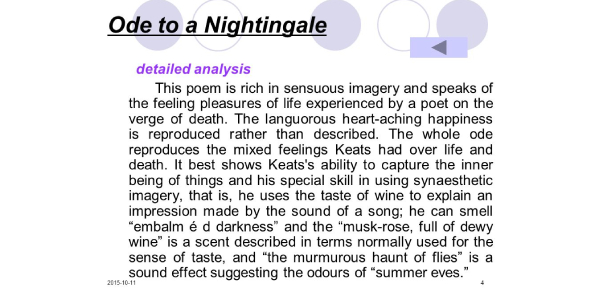 Ode To A Nightingale Poem Quiz! Trivia