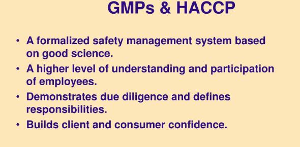HACCP, Sops And Gmps