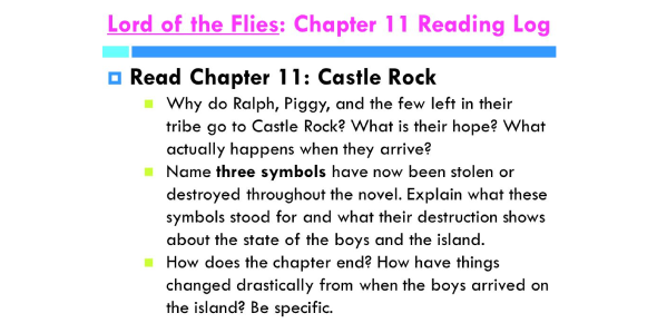 Lord Of The Flies Ch, 11-12 Review