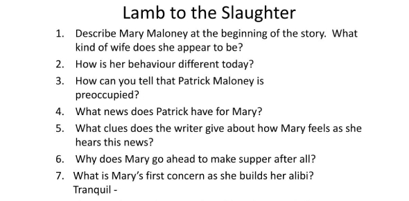 Lamb To The Slaughter Story Test: Quiz