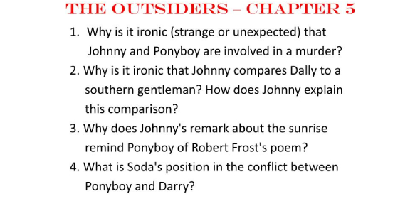 The Outsiders Chapter 1 And 5 : Trivia Quiz