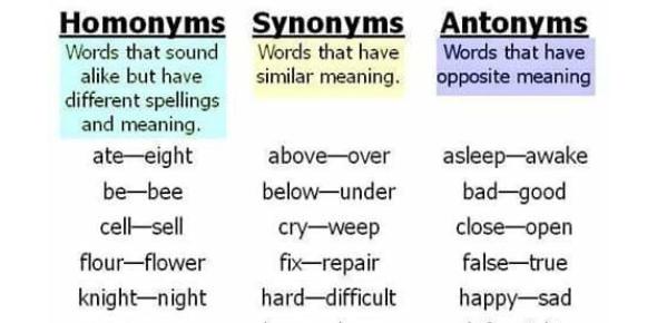 Quiz On Synonyms, Antonyms, Homonyms