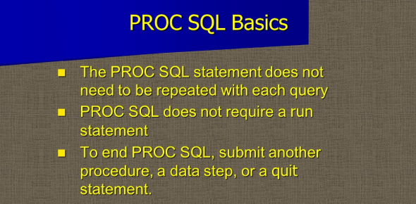 Chapter 1: Performing Queries Using Proc SQL