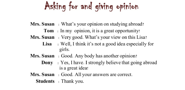 Asking & Giving Opinion Test