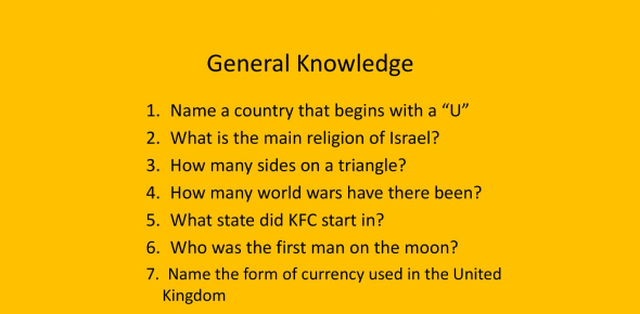 Test On General Knowledge! Trivia Quiz