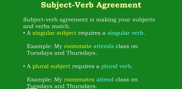 Singular Subject-Verb Agreement Test! Quiz
