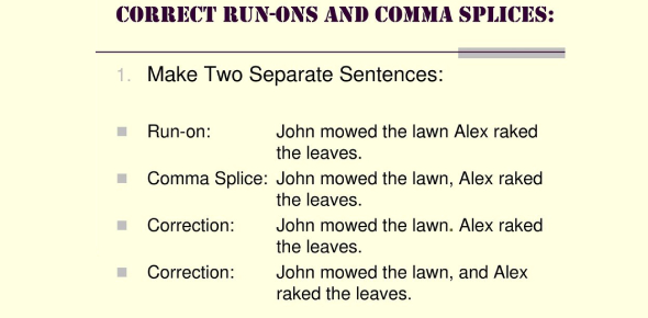 Clauses, Fragments, Run-ons & Comma Splices