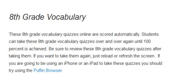 8th Grade Vocabulary: Practice Test Quiz!