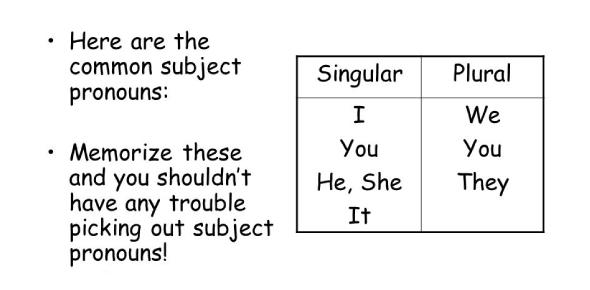 Subject Pronoun Quiz: Test!