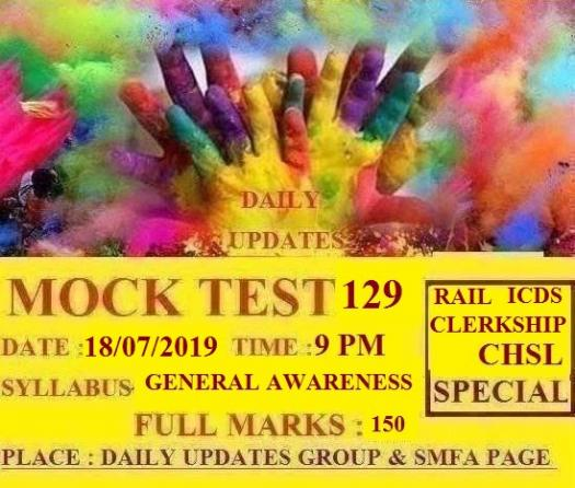 Daily Updates Mock Test 129