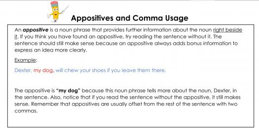Appositives And Comma Usage