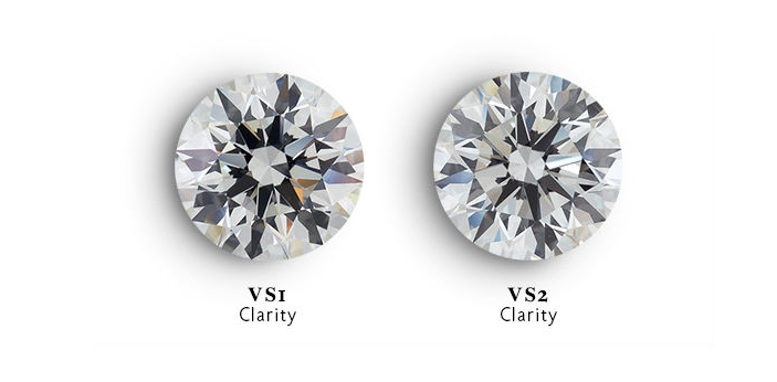 VS1 and VS2 are clarity grades of a diamond. VS1 diamond has fewer and smaller inclusion than a