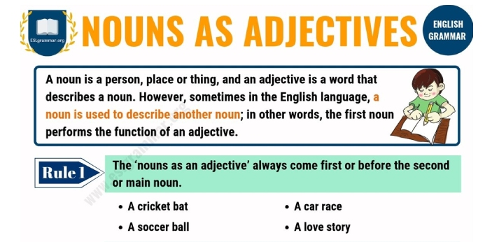 The list of words that can act as both noun and adjective is much. Keep in mind that a noun refers