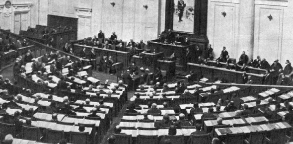 The Duma were the state assembly of Russia. First instituted by Tsar Nicholas II in 1905 it was