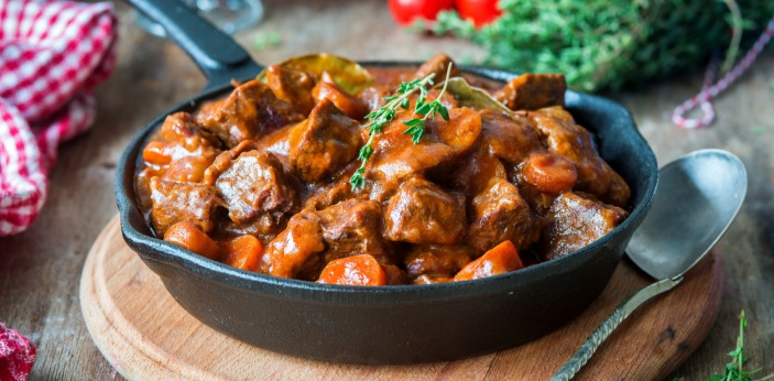 One of the most popular dishes in France is a beef stewed in red wine. It's called boeuf