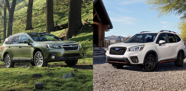 Forester and Outback are types of Subarus. The Forester is compact, and the Outback is a mid-size