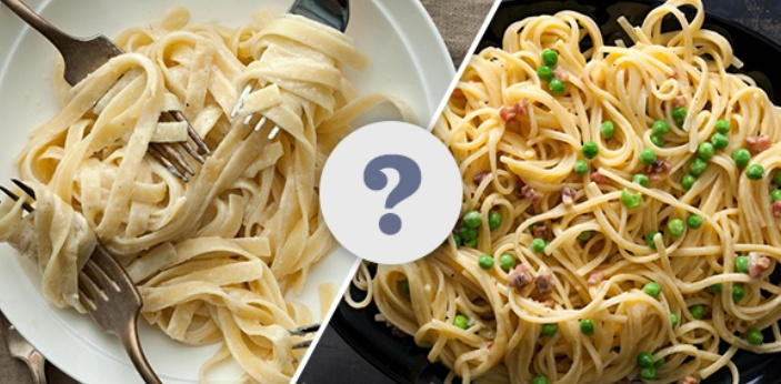Alfredo and Carbonara are two types of pasta sauce in Italy. The significant differences between