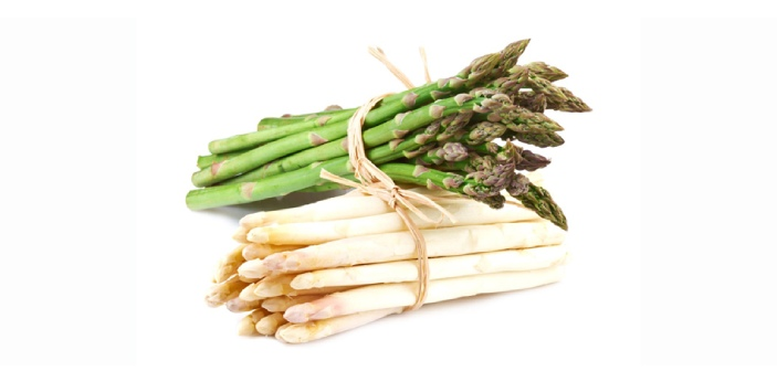 The difference between green and white asparagus is that white asparagus is grown underground. The