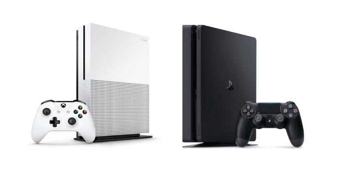 The PS4, which is Play Station 4, is much less expensive than the Xbox One, and the PS4 looks much
