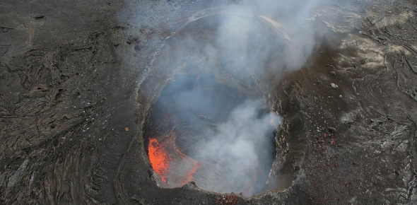 How deep is a volcanic vent?