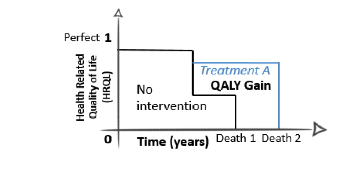 DALY and QALY are used when a country or company is calculating the amount of time in relation to