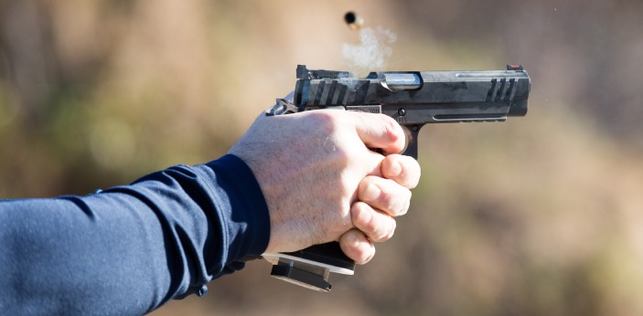 Handguns and pistols are both firearms that are easily carried and can be held with a single hand.