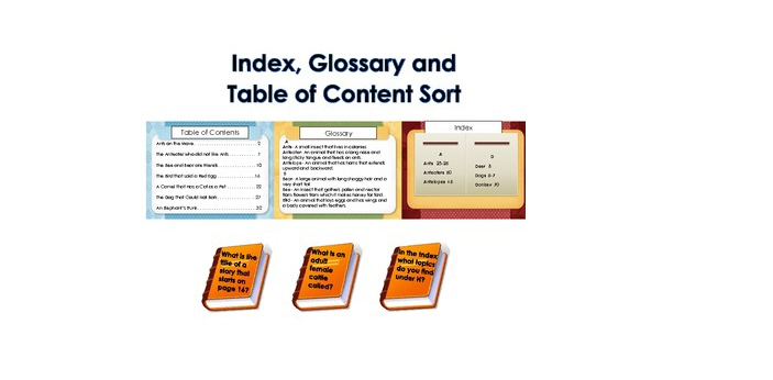Table of Contents, also known as TOC, will list down the various parts of the book or the document