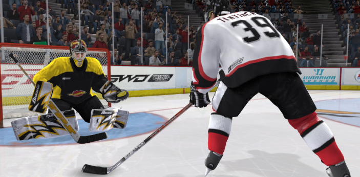 NHL 08 and NHL 09 are two examples of video games by EA sports. Both have a lot of things in