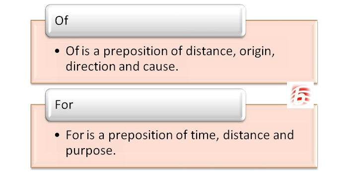 'Of' and 'for' are two prepositional words that express the relationship between