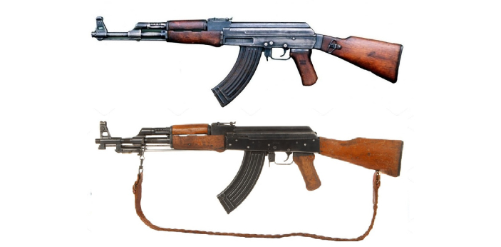 AK-47 and AK-56 are widely used in modern warfare. AK-47 was designed by Mikhail Kalashnikov in the