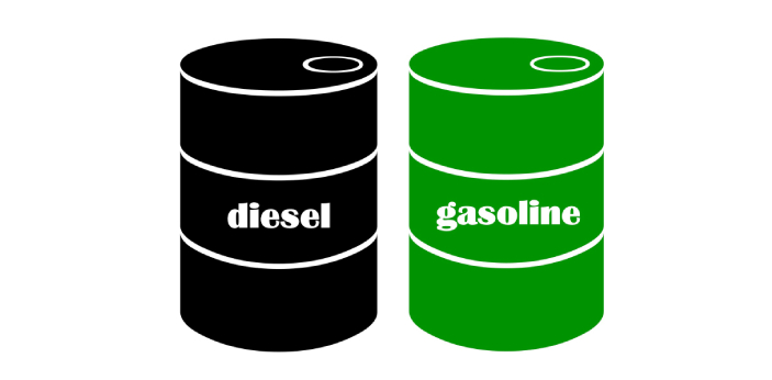 Gas and Diesel are both extractions of crude oil. Both are used for a lot of things. They are used