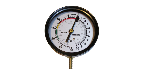 What does the application pressure gauge show you?
