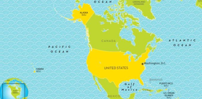 I live in North America in the United States of America. It is a federal republic composed of fifty