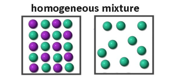 What is the specific type of homogenous mixture in the left image?